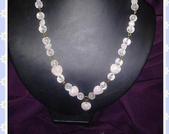 Rose Quartz Necklace (handmade, one of a kind) with Heart Shaped Rose Quartz