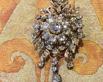 SOLD - Antique gold brooch with rose-cut diamonds, The Netherlands