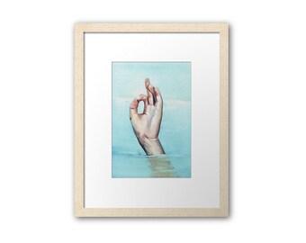 Print. Surfer in sea. Art by Helga McLeod HM116