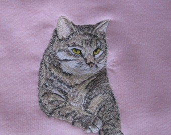 "Embroidered ""Tabby Cat"" Sweatshirt"