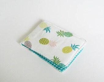 Card case, pineapple fabric, multi colour pineapple design, cotton case