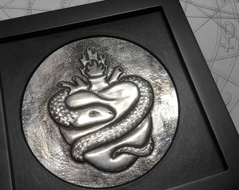 Sacred Heart & Snake : hand embossed repoussé metal wall art