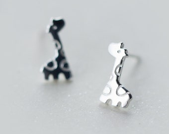 Cute Giraffe Sterling Silver Stud Earrings, Giraffe Earrings, Giraffe Jewelry, Giraffe Gift, Jirafa, Tiny Giraffe, Girafe, Cute Earrings