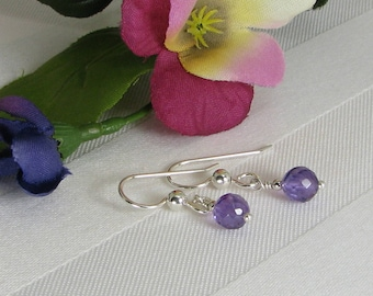 Faceted Amethyst and Sterling Silver Earrings