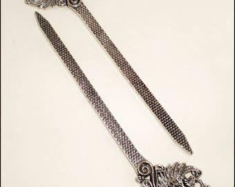 "Bookmark ""Peacock"" 13.2 x 2.8 cm in antique silver Metal"