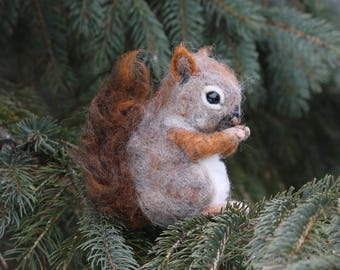 Needle felted realistic baby squirrel, needle felted woodland animal, red squirrel