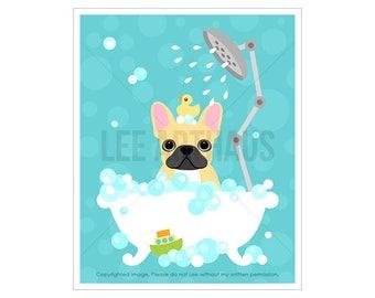 33D Dog Print - French Bulldog in Bubble Bath Wall Art  - French Bulldog Print - Bathroom Art - Bath Print - Dog Art - Frenchie Dog Prints