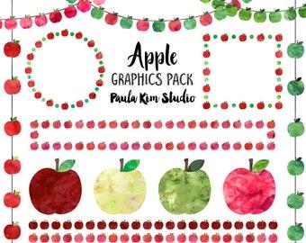 Watercolor Apple Clip Art, Digital Download, Teacher Appreciation Clipart, Commercial Use