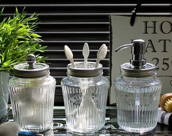 Beau Kilner Vintage Preserve Jar Bathroom Accessory Set In Clear Glass With  Chrome Dispenser Pump And Fittings