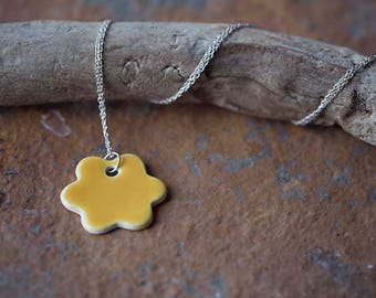 """Yellow Ceramic Flower Pendant ~ Necklace ~ Jewellery ~ Handmade ~ Sterling Silver ~ 925 ~ 18"""" Chain ~ Gifts for her"""