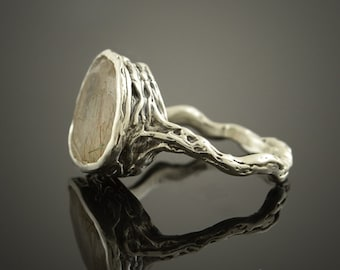 Fantasy organic quartz with rutile (rutilated quartz) one of a kind sterling silver ring