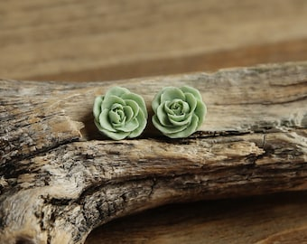 Vintage Green (05) 13mm Dainty Resin Rose Cabochons CF1027