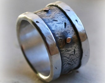 mens wedding band - handmade artisan designed fine and sterling silver with 14k gold rivets - oxidized - mens wedding band - customized