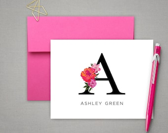 Personalized Stationery Set | Monogrammed Notecards |  Graduation Gift | FLORAL INITIAL | Gift for Her