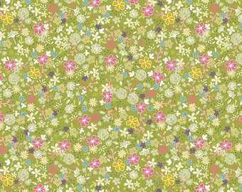 Riley Blake Floral Daisy Days - Green/Cotton/ Fabrics/ Sewing/ Quilting