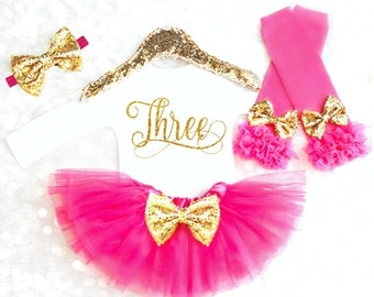 Third Birthday Outfit, Pink and Gold Birthday Outfit, 3rd Birthday Outfit, THREE Birthday Shirt, It's my birthday