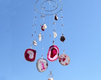 "Wind Chime ""JOIE DE VIVRE"", Gemstone, Pink Agate, Spiritual decor, home decor, L'age de pierre"