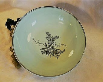 """Mid Century Lady Empire 9"""" Round Serving Bowl - Lily of the Valley, Mint Green and Platinum"""