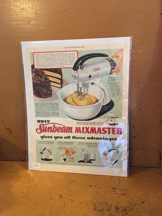 1950 Ad Original Advertising Sunbeam Mixmaster Kitchen Mixer & Cake