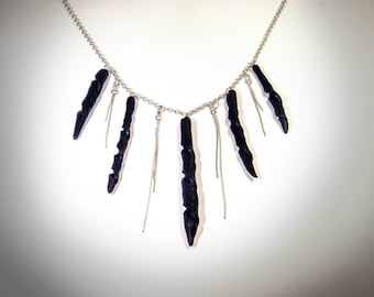 Black Spike Necklace, Statement Necklace, Black Stone, Tribal Necklace, Goth Necklace, Handmade sculptured pendants