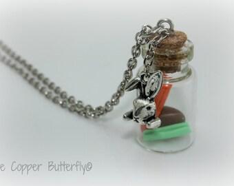 Rabbit Stew - Stewart The Rabbit - Tibetan Silver Bunny Rabbit Charm - Hand Made Clay Carrot, Potato & Celery in a Glass Bottle - 6140214