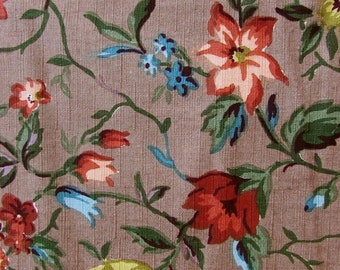 Vintage Cohama Clifton Decor Fabric 4.75 yds Cotton Hand Print Floral 50s-60s