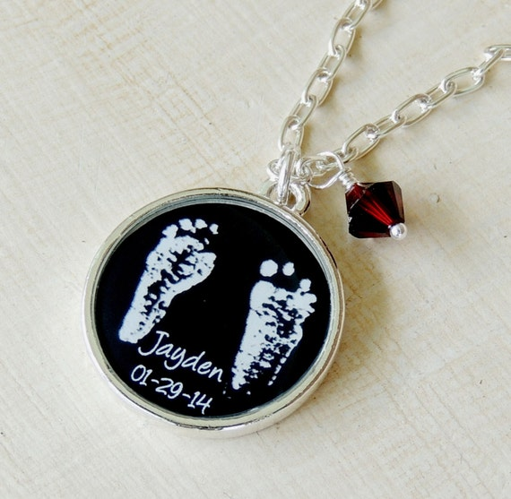 mom pendant gift footprint il baby handprint necklace fullxfull listing new jewelry silver