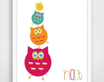 Children's Wall Art / Nursery Decor Pink Owl Stank Hoot 8x10 inch print by Finny and Zook