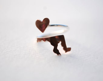 Maryland State Twist Ring (Sterling Silver & Copper Place State Love Map Ring)