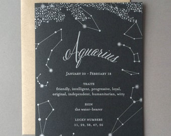 Aquarius Birthday Card, letterpress, zodiac