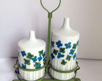 VINTAGE TAKAHASHI CRUET Set, Blue Green Flower Retro Oil and Vinegar Set, 60's Mod Blue Green Daisy Oil Vinegar Cruets with Metal Stand