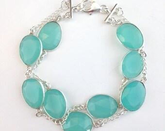 Chalcedony Bracelet - Gemstone Bracelet - Chalcedony Jewelry - Mint green Jewelry - Mint green Bracelet - chain bracelet - Pool Stones