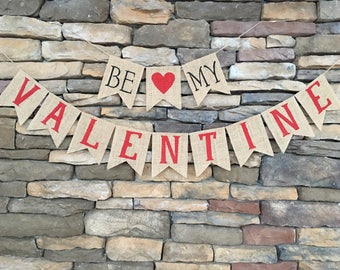 Be my valentine banner, Valentine burlap banner, Valentine's Day decor, Heart bunting, Heart banner, Valentine's banner, Heart garland