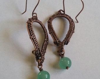 Wire Wrapped Aventurine Earrings