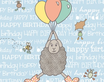 Sheep Card, Sheep Birthday Card, Balloons Card, Blue Card, Sheep Birthday, Sheep Gift, Countryside Card, Felltarn Friends