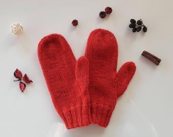 Red sparkly mittens, Knit mittens, Womens mittens, Mittens womens, Red mittens, Sparkly mittens, Warm mittens.