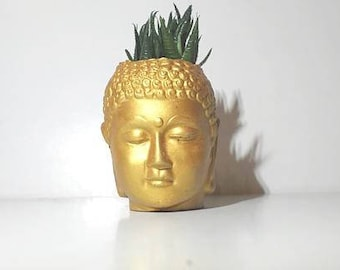 Buddha head concrete planter, modern planter, home decor, gold planter, suculente planter, home decor, gift for home, air plant holder, gold