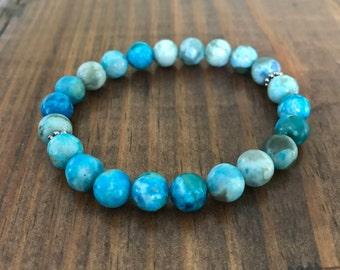 Ocean Blue Jasper Beaded Bracelet