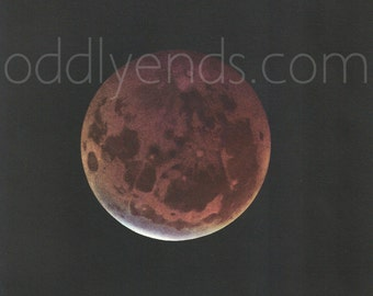 1950's Moon Total Eclipse, Original Vintage Astronomy Space Blood Moon Print