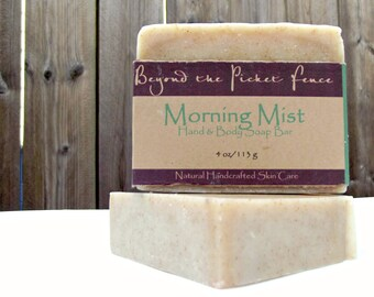 Peppermint, Eucalyptus and Geranium with Rosemary Powder - Morning Mist - Handmade Essential Oil Soap