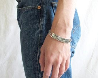 opal shell silver bangle
