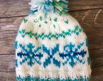 Baby fair isle hat, turquoise snowflake baby hat, nordic beanie, infant pompom hat, new baby gift, baby girls fair isle hat, loopsnswoops