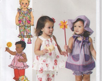 Infant Girls Top and Bloomers Hat Shorts and Long Pants Size Newborn to Large Uncut Butterick 5742