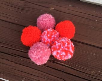 Valentine cat toys, pom pom cat toys, set of 6