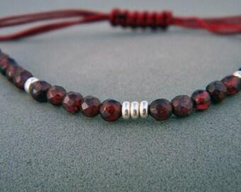 Garnet bracelet. Gemstone bracelet. Sterling silver bracelet.Tiny silver bead bracelet. Silver beaded bracelet. Friendship bracelet.GE045
