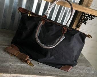 TOTE/Black Nylon Weekender Tote Bag with Dual Handles