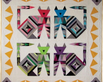 Cat and Mouse Quilt / Wall Hanging / Baby Quilt Pattern PDF