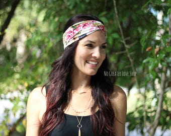 Creamy Floral Turban Headband - Adult/Child/Baby Headband - Top Knot - Big Bow - Buy One Give One