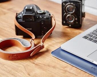 Adjustable Camera DSLR Leather Strap with Felt lining | Leather Camera Strap | DSLR Camera Strap
