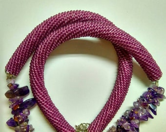 Crochet bead necklace with Amethyst Natural stone Jewelry Must Have Gift for Her